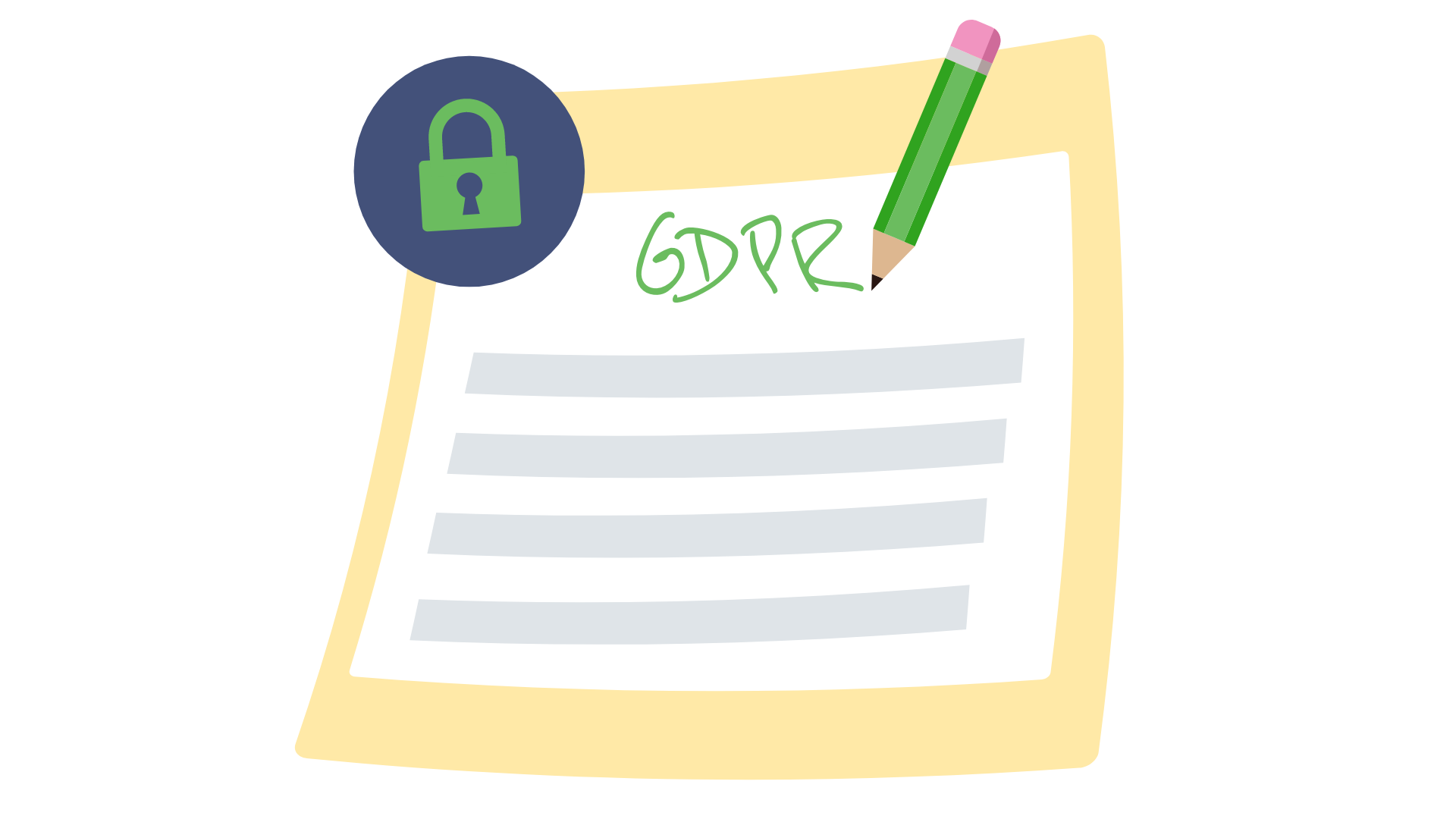 A piece of paper with a pencil and a lock, showing the general data protection regulation.