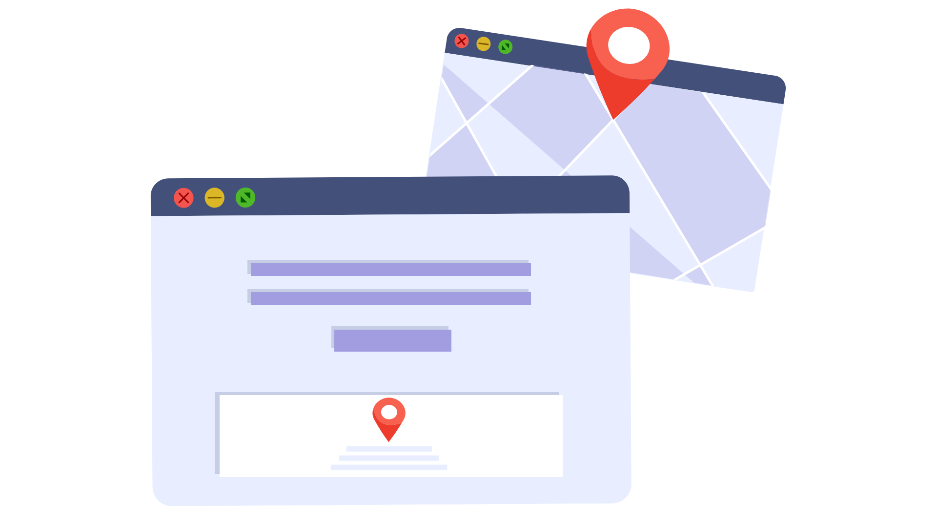 A landing page with company info and location in footer and a map with location pin. Illustration.