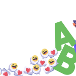 A person sitting on big alphabet letters and texting, surrounded by heart and smiling emojis.