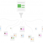 An email filtered out through a funnel, comes out as hundreds of personalized versions. Illustration.