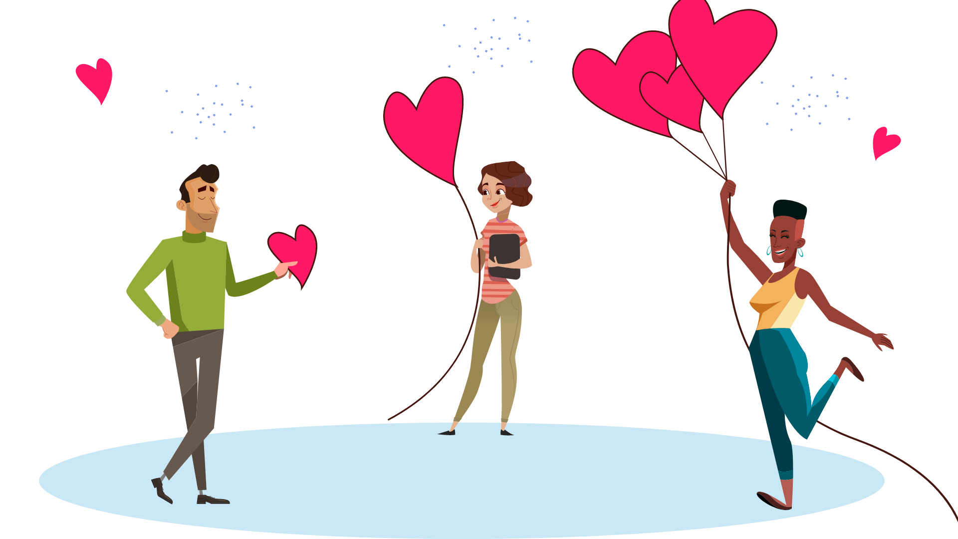 People holding hearts and heart-shaped balloons. Illustration.
