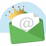 Email icon with a crown on top.