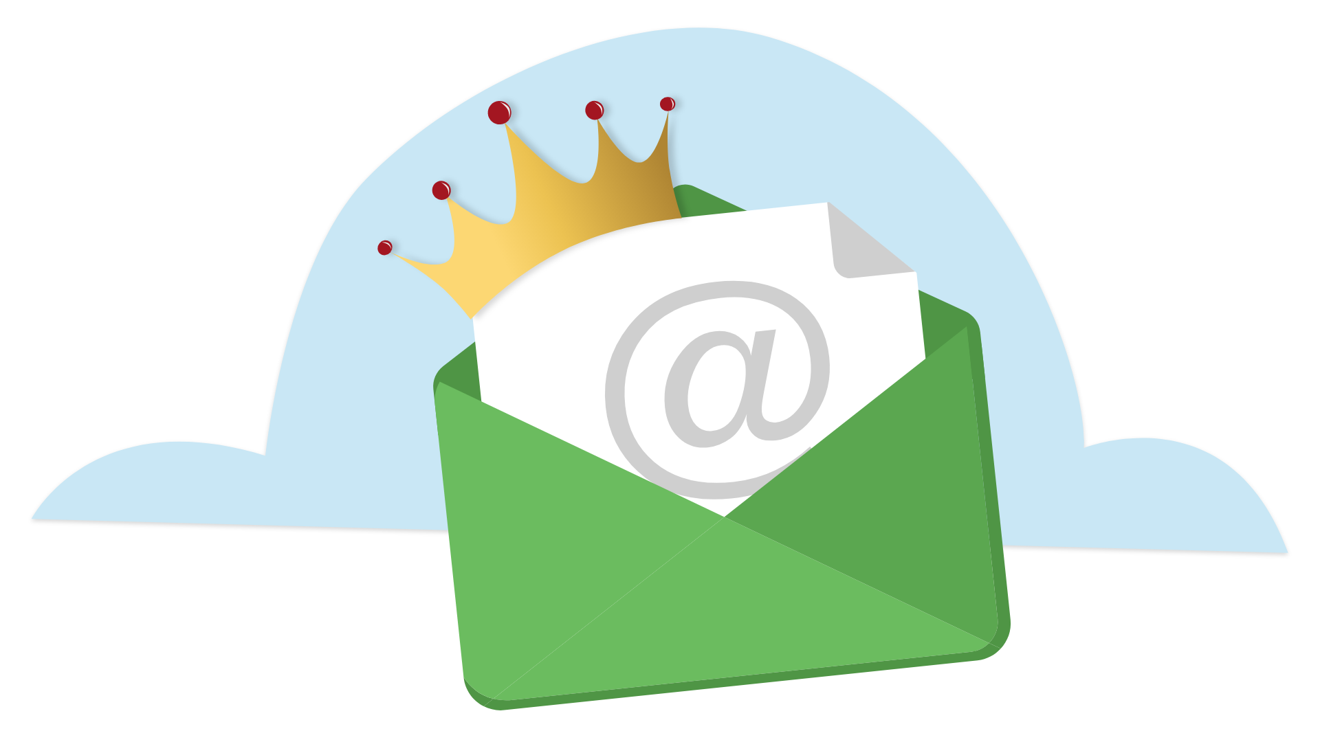 Email icon with a crown on top. Illustration.