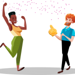 Two people laughing, cheering, and celebrating with confetti. Illustration.