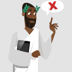 A person in a toga with a speech bubble discussing the marketing automation myths. Illustration.