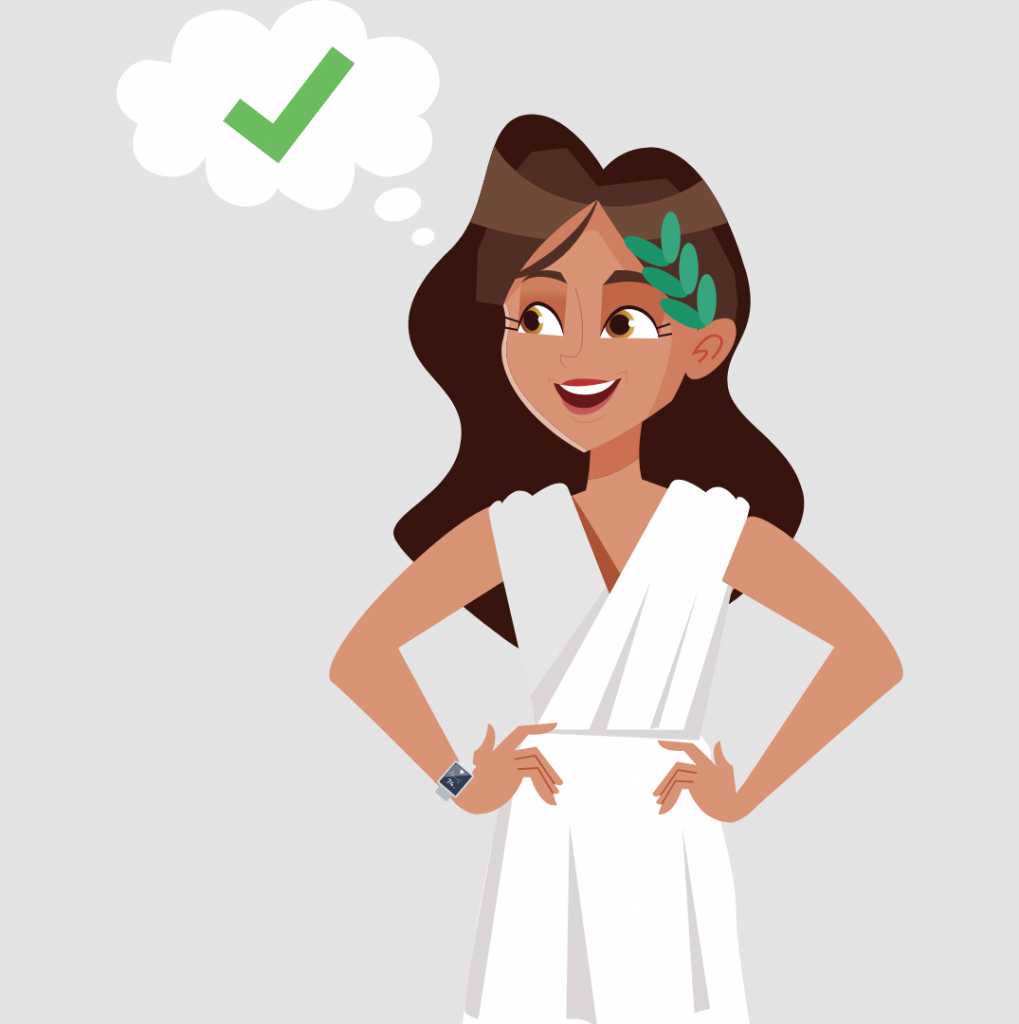A person in a toga with a speech bubble discussing the truths about marketing automation. Illustration.