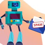 Loopify robot holding an email marked as spam.