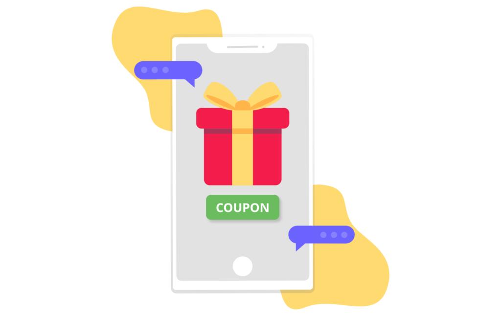 Mobile phone showing a coupon sent via a text message.