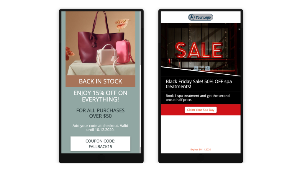 Two mobile coupon examples.