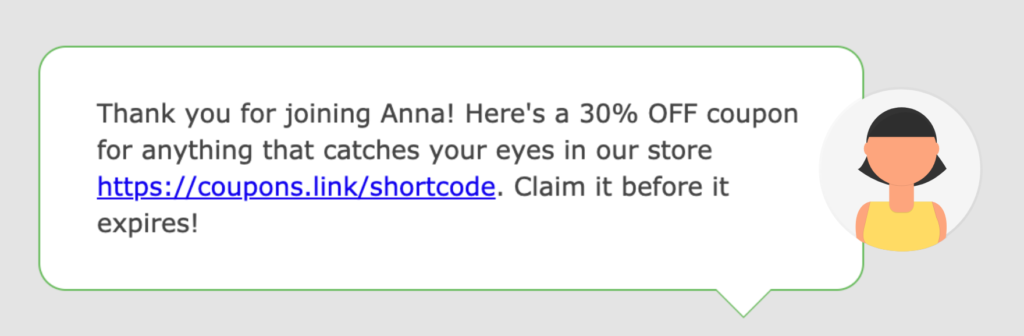 A text message with a link to a mobile coupon.