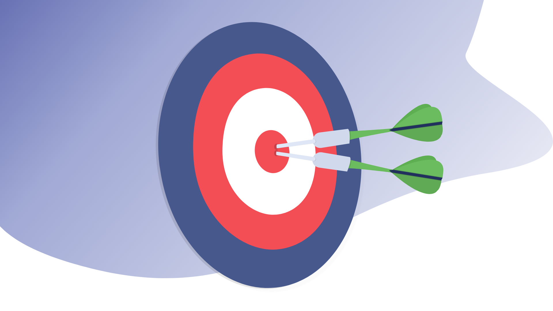 Two darts in the center of a target.