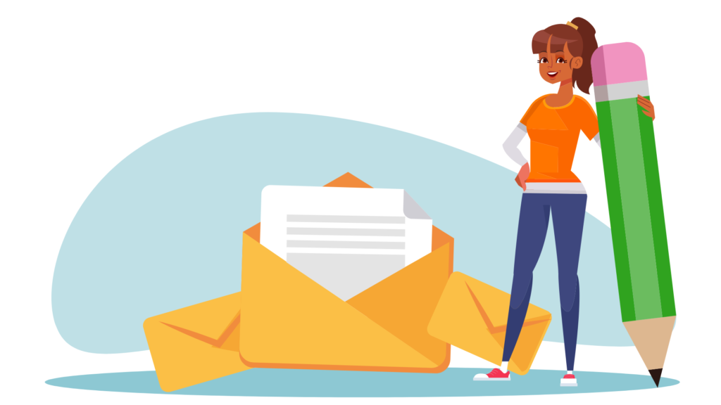 A person holding a pencil next to emails.