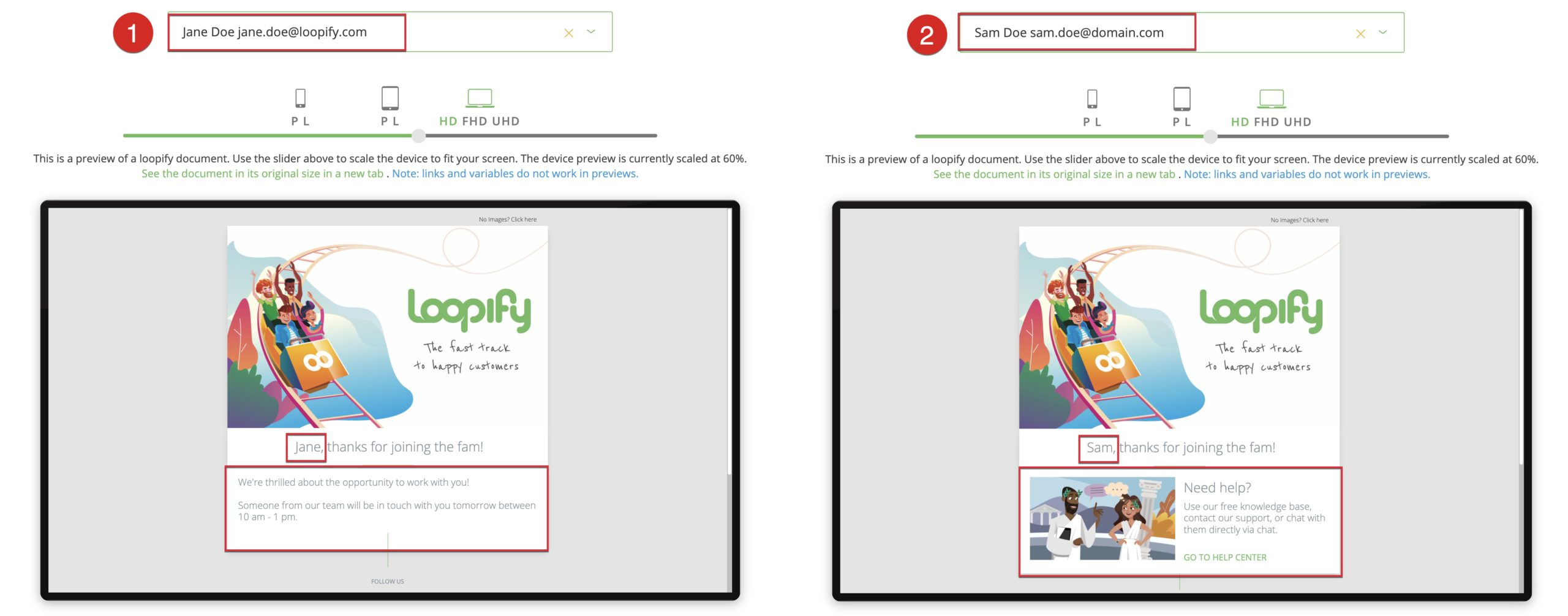 Preview of segmented content in email in Loopify.