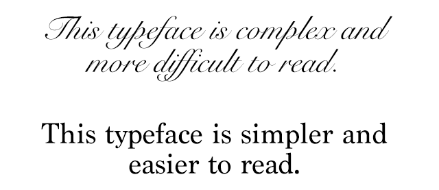 Example of the same sentence in a complex and simple typeface.
