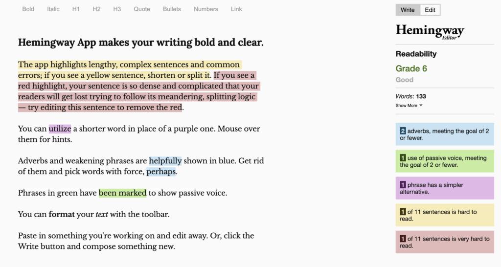 Screenshot of the Hemingway app editor.