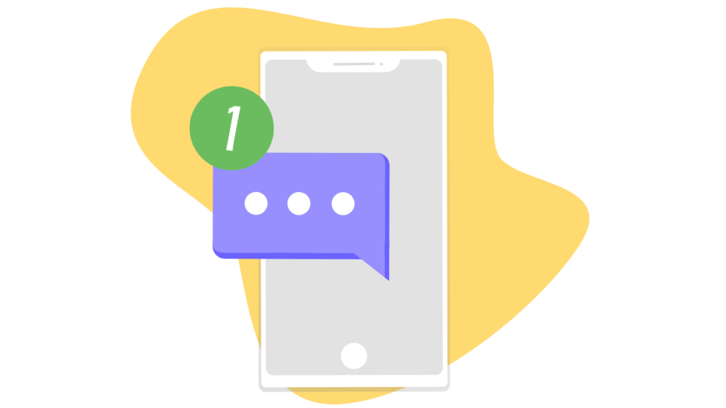 A mobile phone with a text message notification. Illustration.