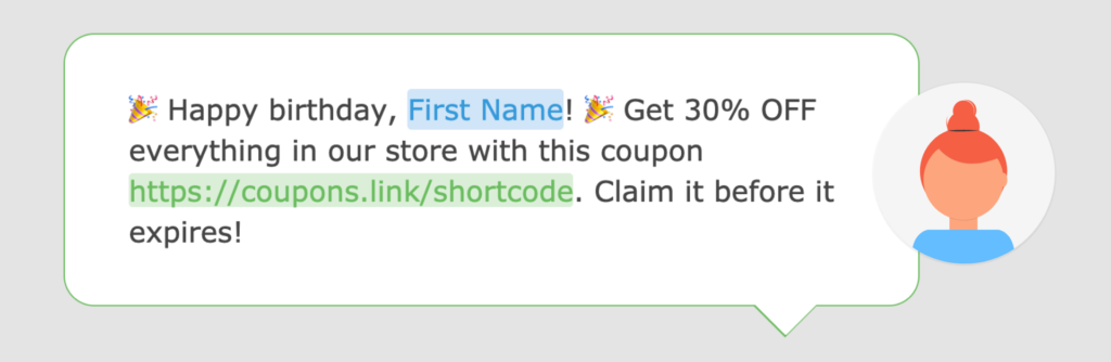 A screenshot of a birthday text message in the Loopify SMS editor.