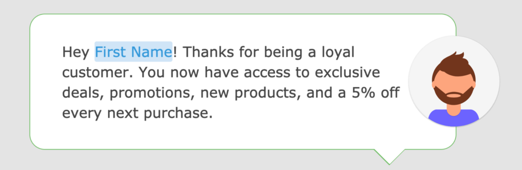 A screenshot of a loyalty program text message in the Loopify SMS editor.