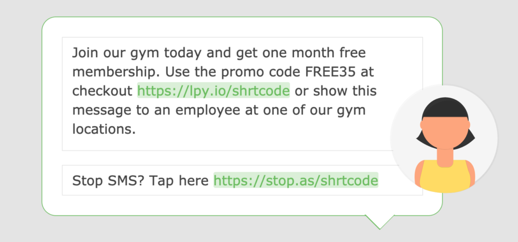 A screenshot of a promotional text message in the Loopify SMS editor.