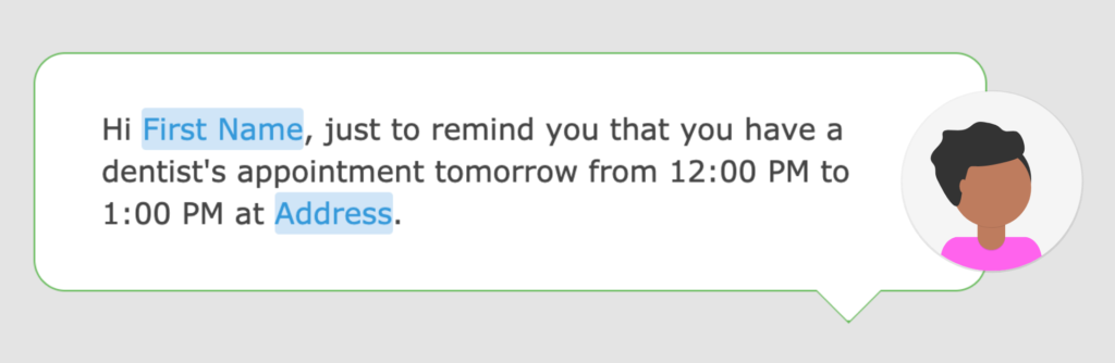 A screenshot of a reminder text message in the Loopify SMS editor.