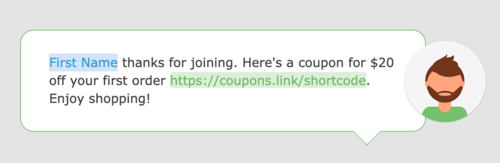A screenshot of a welcome text message in the Loopify SMS editor.