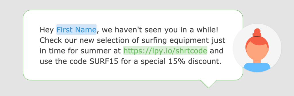 A screenshot of a reengagement text message in the Loopify SMS editor.