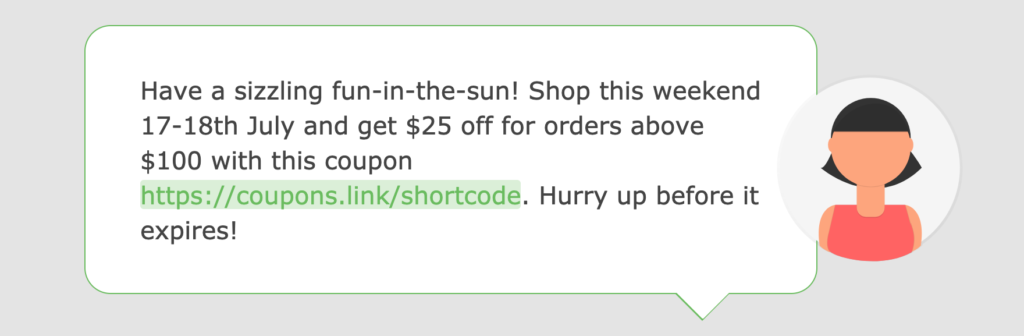 A screenshot of a coupon promotion in text message in the Loopify SMS editor.