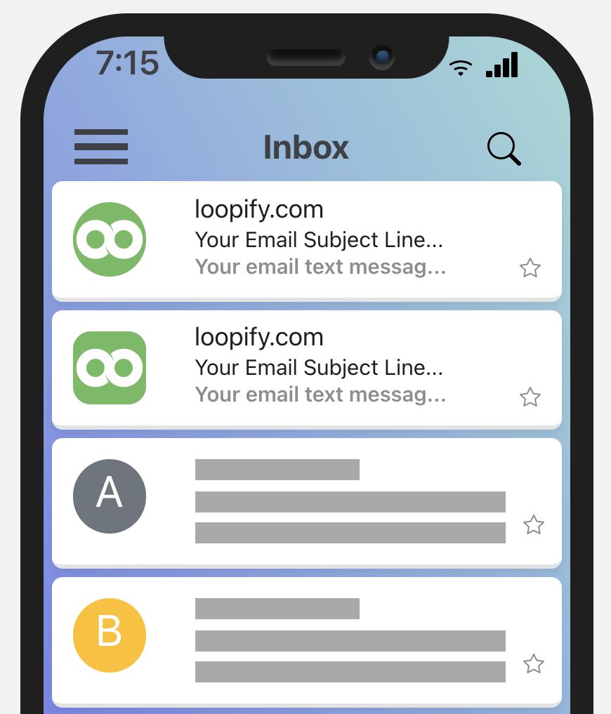 Mobile preview of the Loopify logo in email inbox after BIMI implementation.