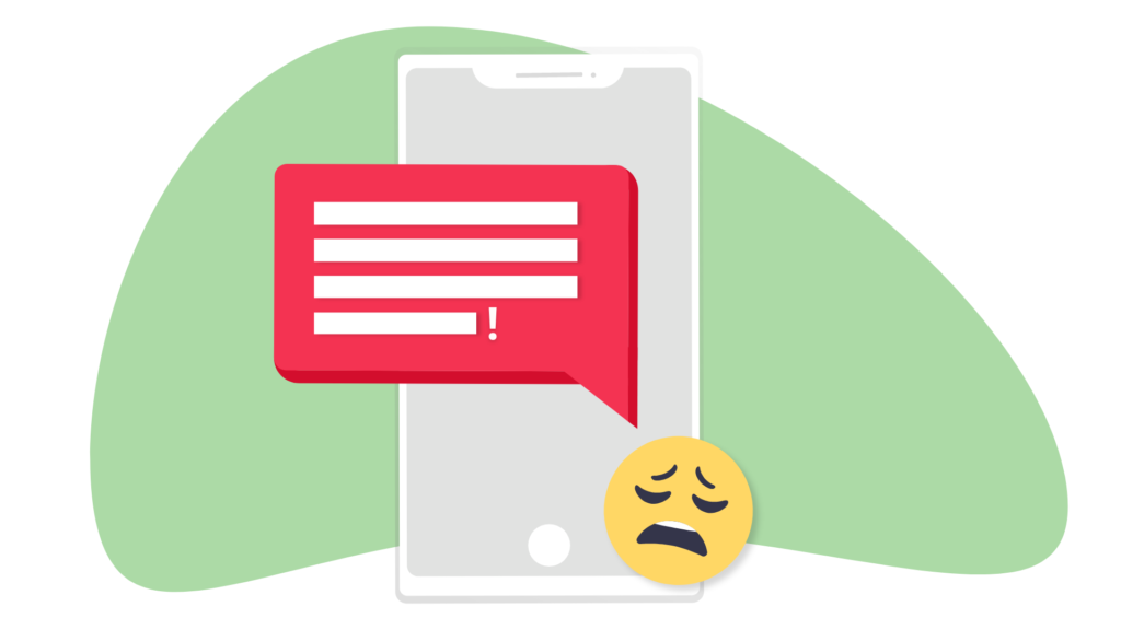 A phone with a red text message bubble. Illustration.