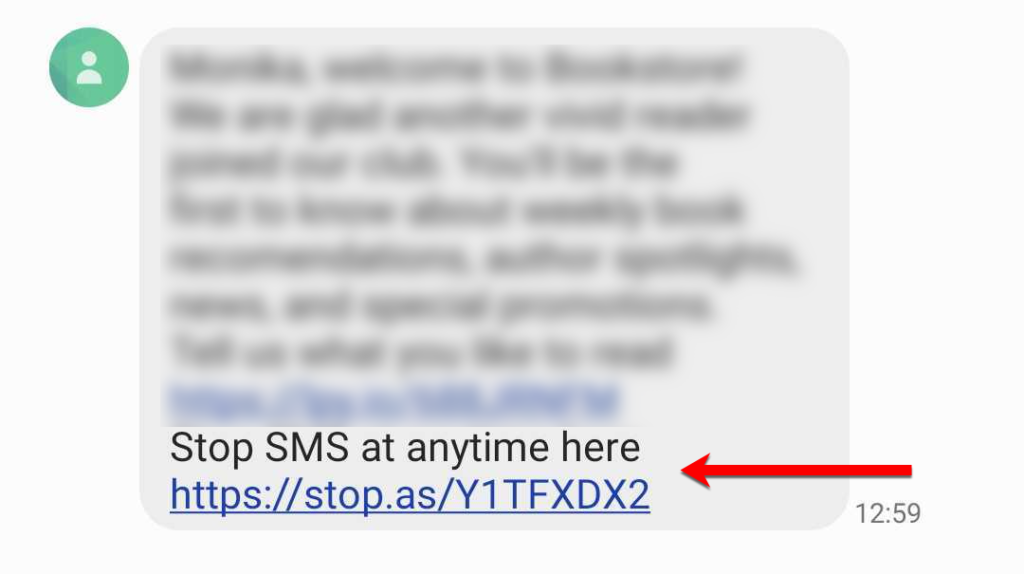 An unsubscribe link in a text message.