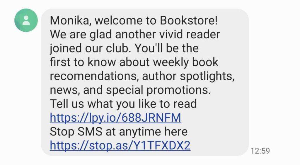 A screenshot of a welcome marketing text message.